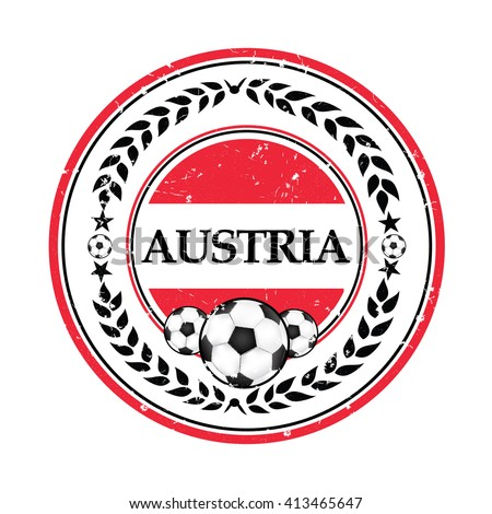 Printable grunge Austria soccer label, containing a soccer ball and the Austrian flag. Print colors used