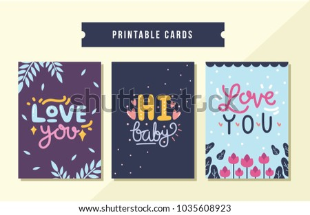 printable romantic cards set with colorful lettering