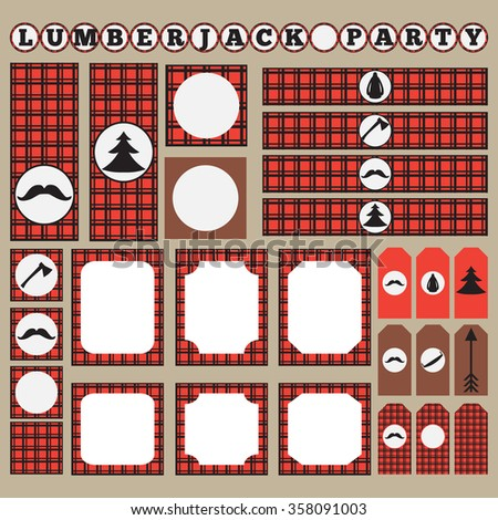 Printable set of vintage Lumberjack party elements. Templates, labels, icons and wraps. Trendy Hipster Buffalo Check ,Tartan and Gingham Patterns.