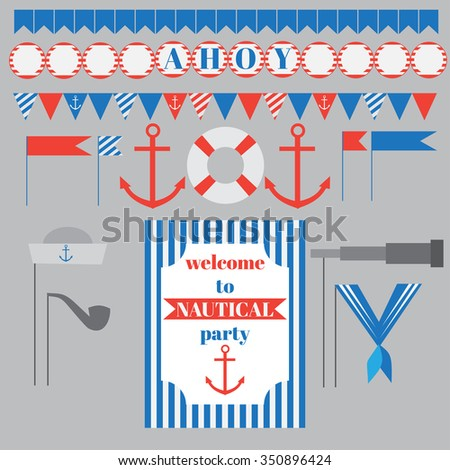 Printable set of vintage nautical party elements. Templates, labels, icons and wraps vector