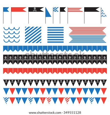 Printable set of vintage pirate party elements. Templates, labels, icons and wraps vector - stock vector
