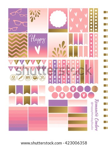printable stickers - romantic ombre pink summer boxes - stock vector