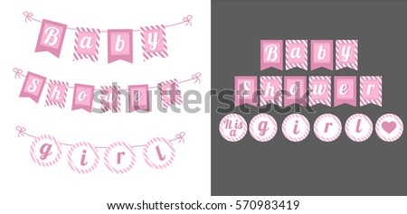 printable template flags banner baby shower stock vector 570983419 shutterstock. Black Bedroom Furniture Sets. Home Design Ideas