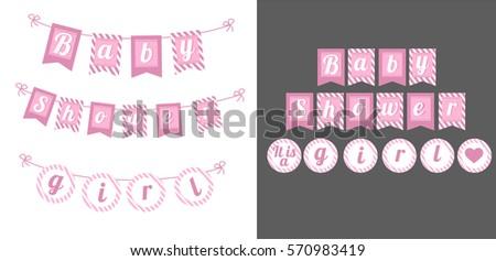 printable template flags banner baby shower stock vector 570983419 shutterstock. Black Bedroom Furniture Sets. Home Design Ideas