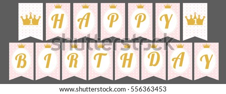 printable template flags cute pennant banner as flags with letters happy birthday in princess style