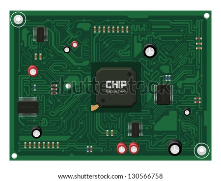 Printed Circuit Board Matherboard, Computer Component Part. Vector Background Green Blue EPS10 - stock vector