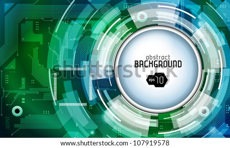 Printed Circuit Board Shiny Dark Round Vector Background Green Blue EPS10 - stock vector