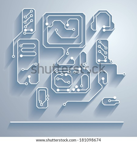 Printed circuit board with a picture of the monitor, system unit, phone, speakers, mouse and headphones, etc. - stock vector