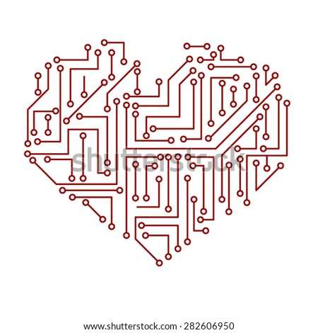 Printed Electrical Circuit Board Heart Symbol Stock Photo (Photo ...