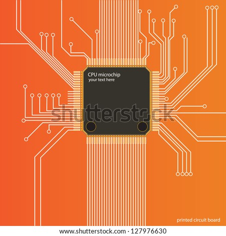 Printed Processor Circuit Board, Engineering Production of Microelectronics - stock vector