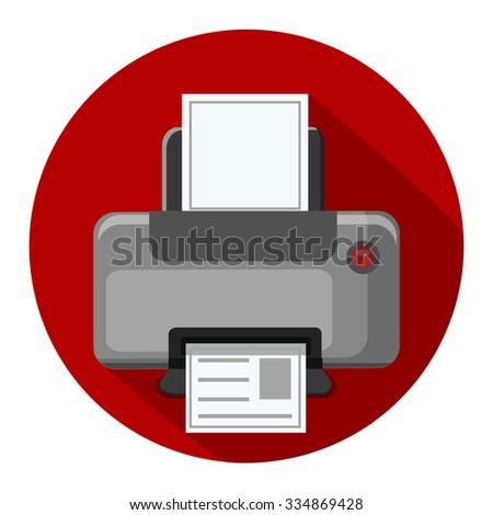 printer flat icon - stock vector