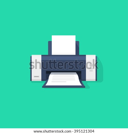 Printer flat vector icon with shadow, printer with paper a4 sheet and printed abstract text document out of printer machine illustration isolated on green background - stock vector