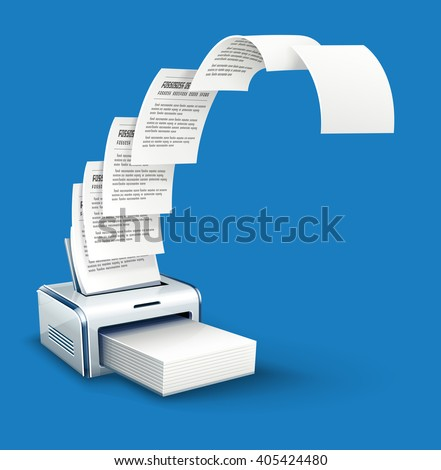 Printer printing copies of text to paper with copyspace vector icon. White blank pages moving from printer. Office work concept with copying paper documents device.  - stock vector