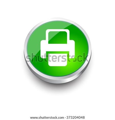 Printer Vector icon. green icon - stock vector