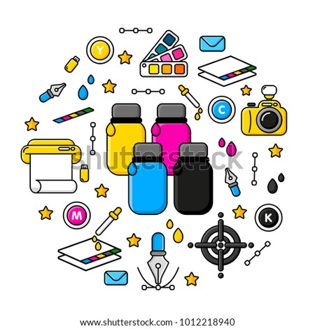 Printing Coloring Tools Paints Digital Offset Stock Vector ...