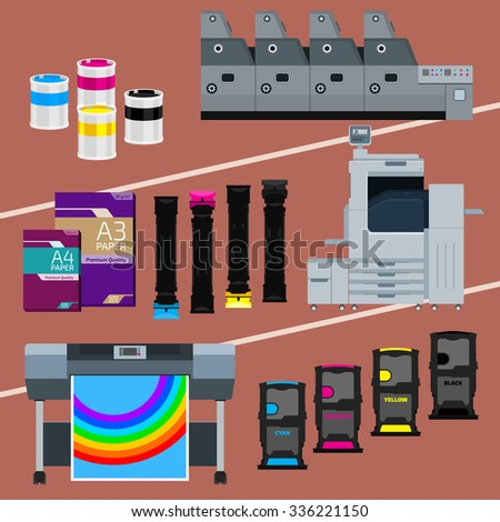 Printing equipment. Color printer. Cyan, magenta, yellow, black pant. Color Ink and cartridge. Paper for laser and ink print. Copy and scan. Laser, ink, offset machine.  Vector press industry. - stock vector