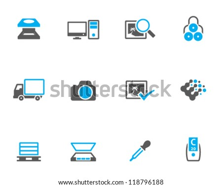 Printing & graphic design icon series in duo tone. - stock vector