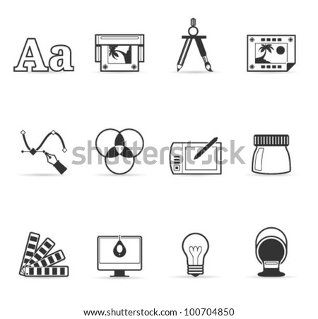 Printing & graphic design icon set in single color. Transparent shadows placed on layer beneath. - stock vector