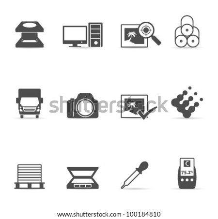 Printing & graphic design icon set. Transparent shadows placed on layer beneath. - stock vector