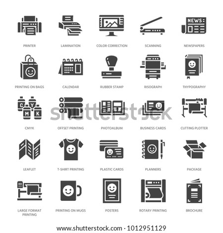 Printing house flat glyph icons print stock vector royalty free printing house flat glyph icons print shop equipment printer scanner offset machine reheart Gallery