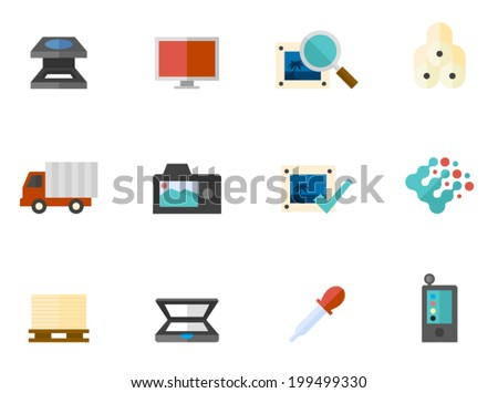 Printing related items icon series in flat colors style. - stock vector