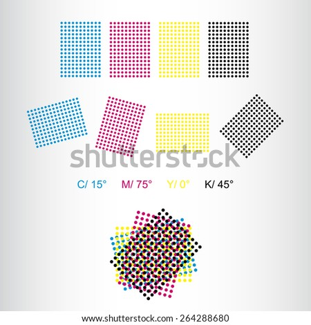 Printing rosettes - correct rotation for print of cyan, magenta, yellow and black rosettes - stock vector