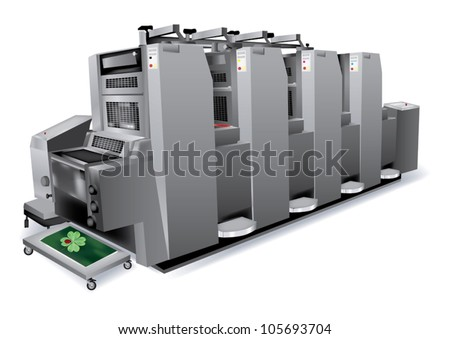 Printing solutions: offset printer 4 colors - stock vector