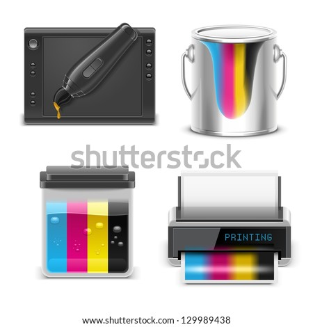 printing vector icon set - stock vector