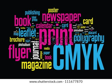 printing word cloud vector concept illustration on black - Pictures For Print