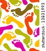 Prints of feet - seamless pattern - stock vector