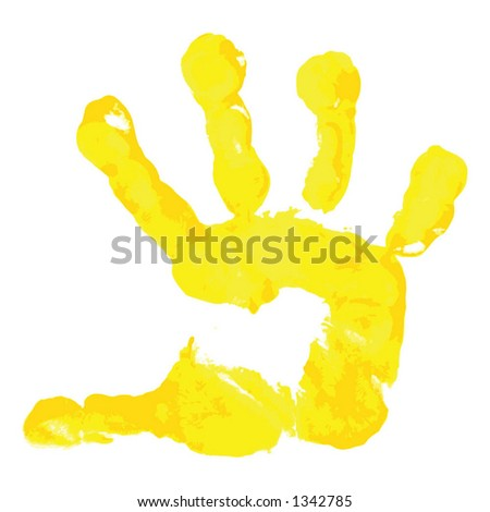 Prints of hands of the boy