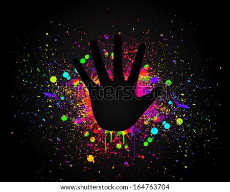 Prints of hands on art colorful splash. Vector - stock vector