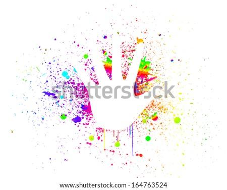 Prints of hands on ink colorful splash. Vector - stock vector