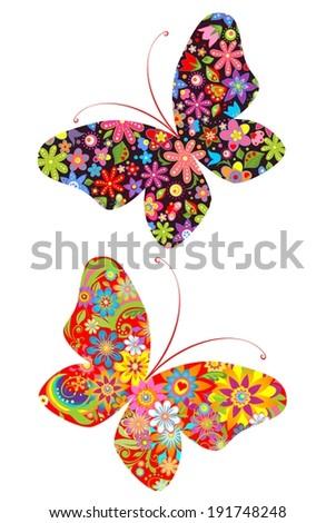 Prints with butterflies - stock vector