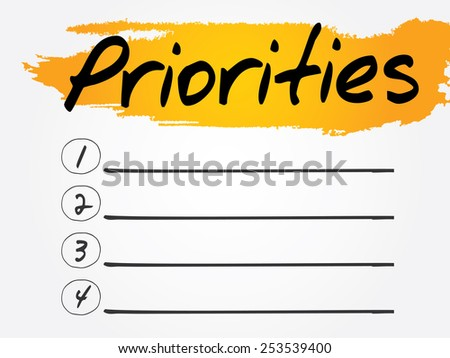 Priorities Blank List, vector concept background - stock vector