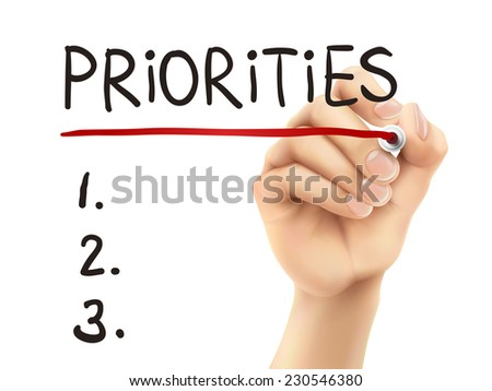 priorities word written by hand on a transparent board - stock vector