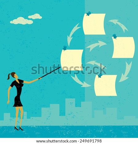 Prioritizing Tasks A businesswoman using notes to prioritize her tasks over an abstract skyline background.The woman & notes and the background are on a separate labeled layers. - stock vector