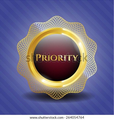 Priority golden badge - stock vector