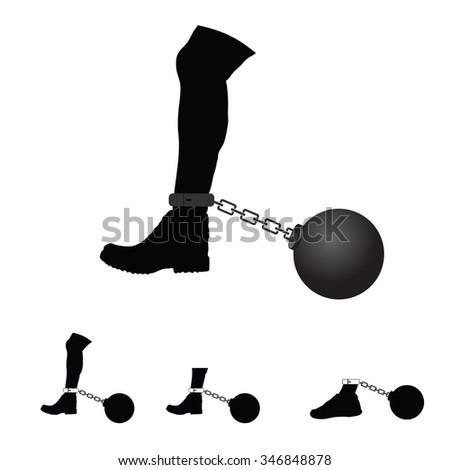 prison ball on leg vector illustration - stock vector