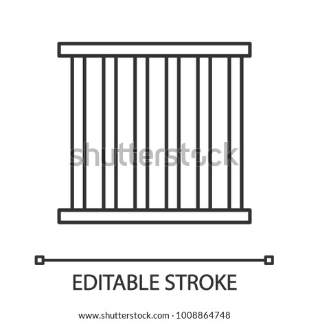 Prison bars linear icon. Animal cage. Thin line illustration. Jail. Contour symbol. Vector isolated outline drawing. Editable stroke