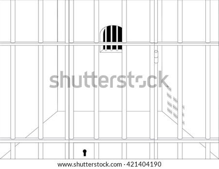 Prison cell with locked bars