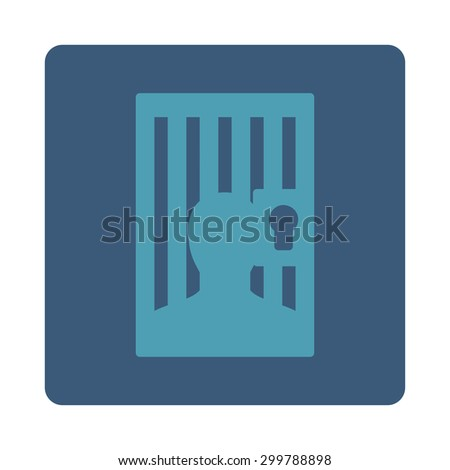 Prison icon. Vector style is cyan and blue colors, flat rounded square button on a white background.
