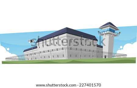 Prison Jail Penitentiary Building, vector illustration cartoon.  - stock vector