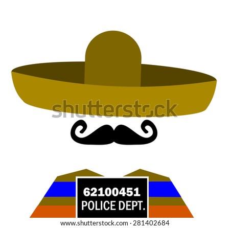prison mugshot of man wearing sombrero - stock vector