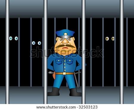 Prison proctor. - stock vector