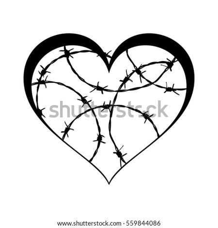 Prison Tattoo Heart Barbed Wire Black Stock Photo (Photo, Vector ...