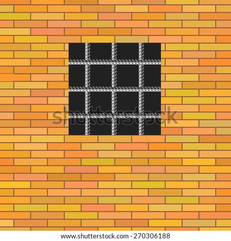 Prison Window on Red Brick Wall. Jail Wall with Window. - stock vector