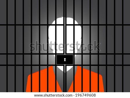 Prisoner at the jail - Vector - stock vector