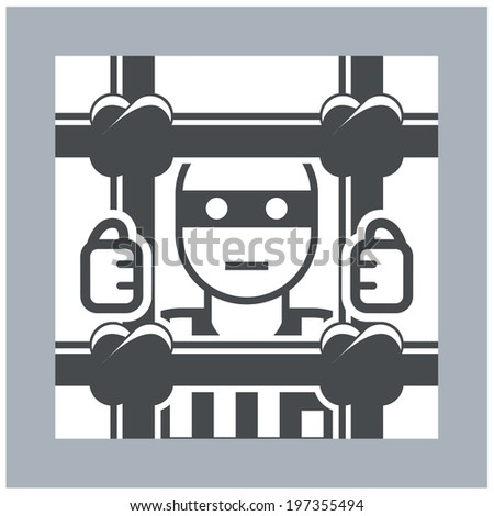 Prisoner behind bars - criminal in jail, simple icon - stock vector