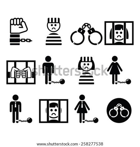 Prisoner, crime, slavery vector icons set  - stock vector